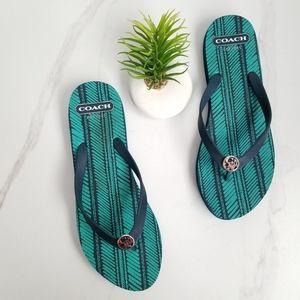 COACH ALESSA Blue Flip Flops Thong Sandals Logo